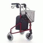 Three Wheel Lightweight Aluminium Walker red